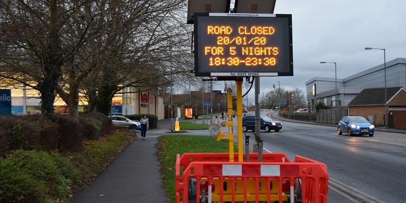 Castle Street closures for resurfacing works electronic sign