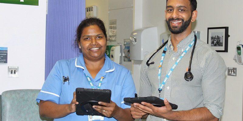 Musgrove mediacal staff Manjula Cijan junior sister and Ramanan Gukathasan locum doctor with ipads