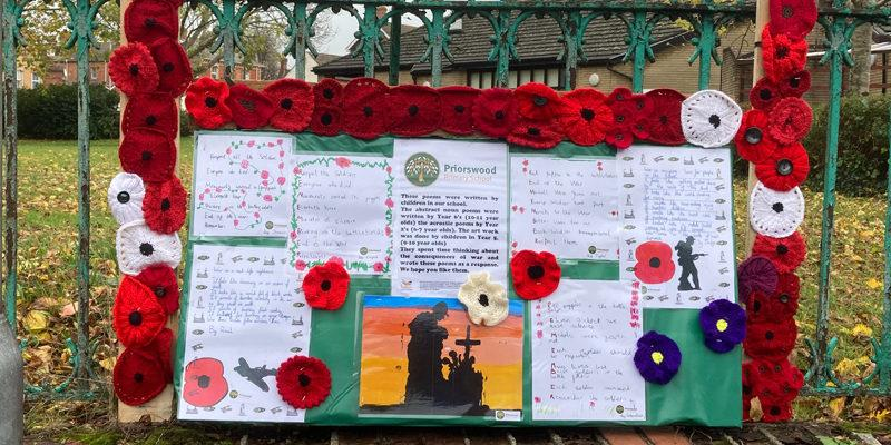 Priorswood Primary School yarn bombing for remembrance