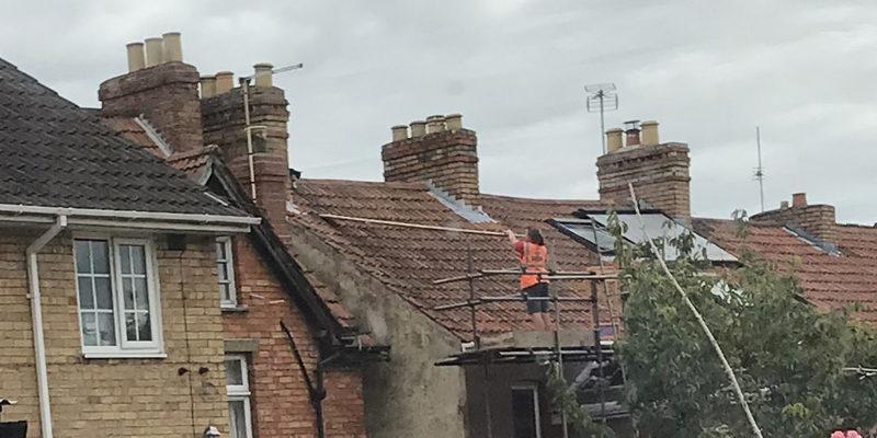 Taunton postie recuses cat stuck on roof