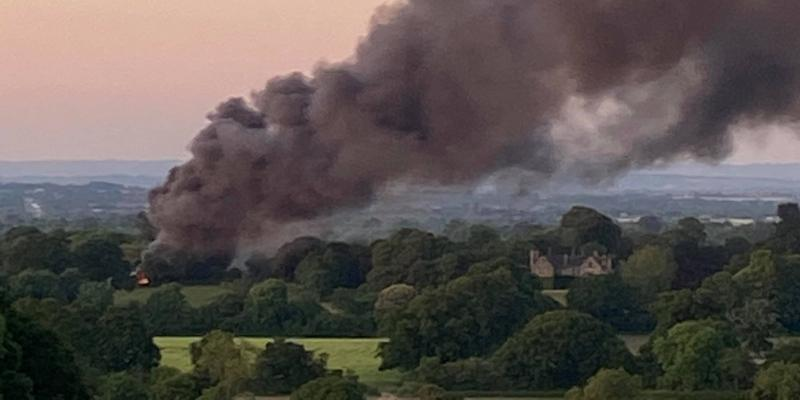 large fire on the outskirts of Taunton